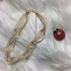 "Monet, faux pearl, multi tone, 18"" necklace, EUC."